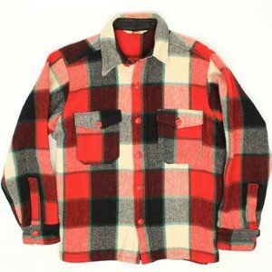 VTG Woolrich Mens Shirt Jacket M Red Black White